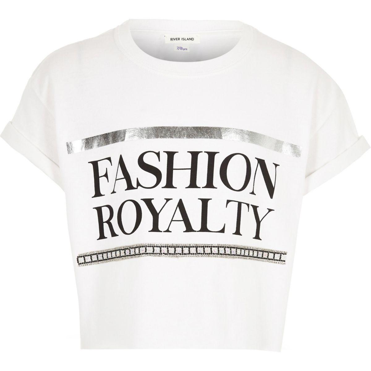 Girls white 'fashion royalty' crop T-shirt