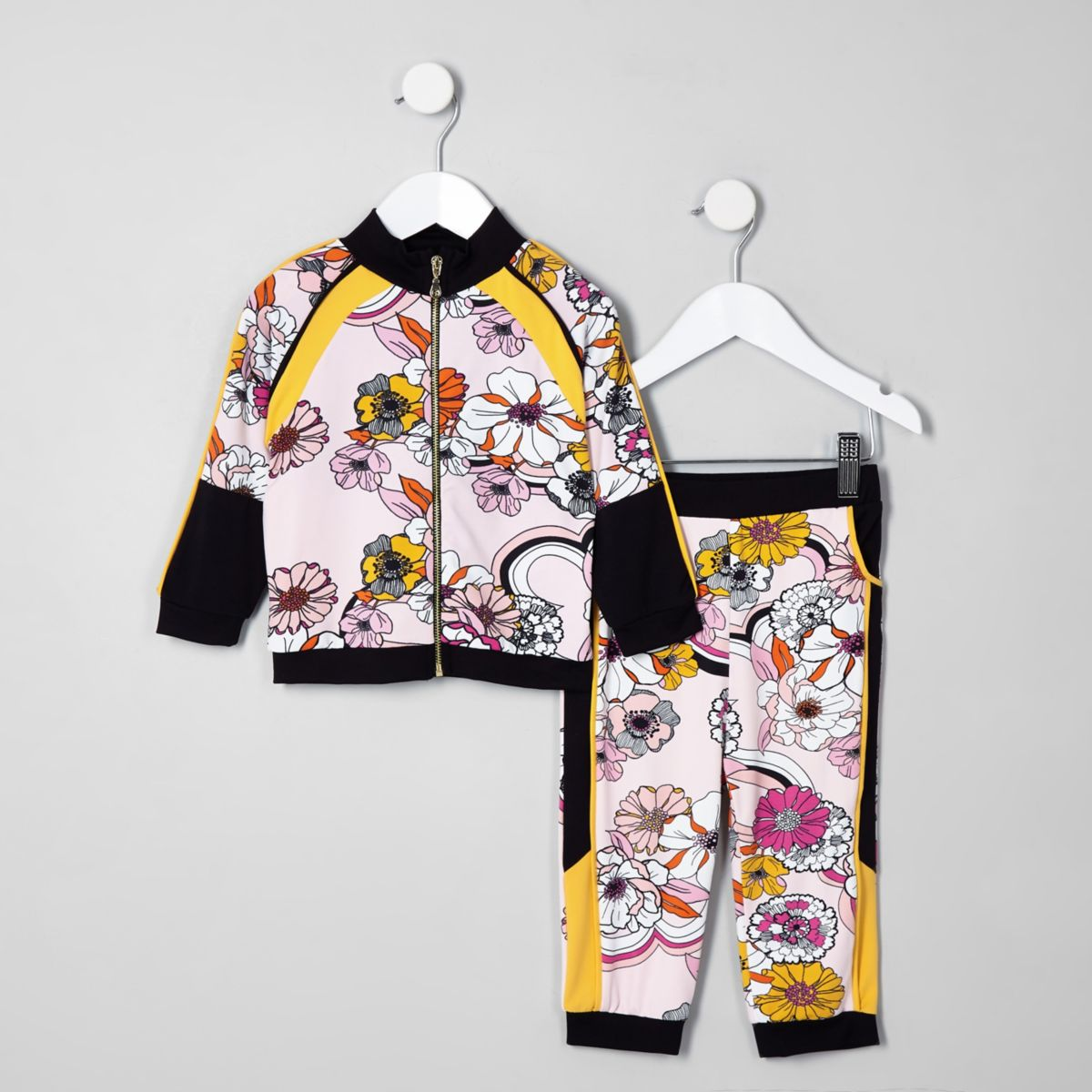 Mini girls pink floral tracksuit outfit