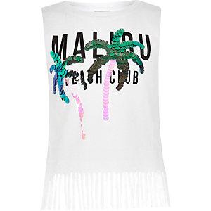 Débardeur blanc à imprimé « Malibu » avec pampilles et sequins pour fille