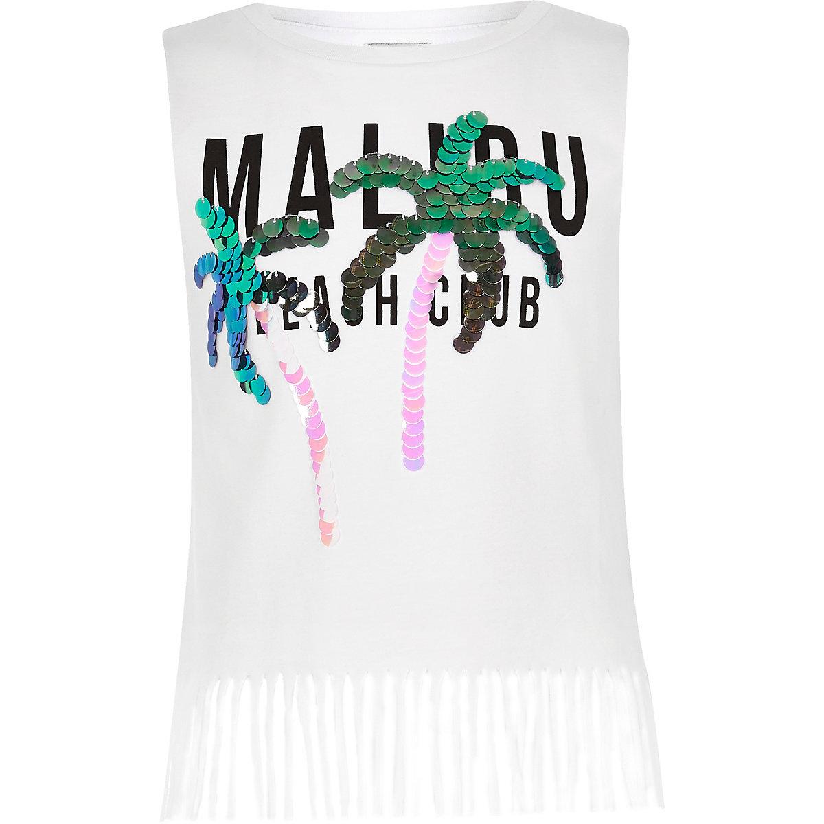 Girls white 'Malibu' sequin tassel tank top