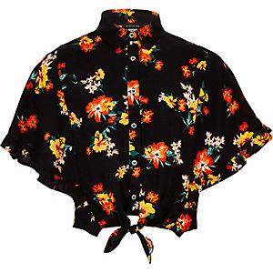 Chemise à fleurs noire nouée sur le devant pour fille