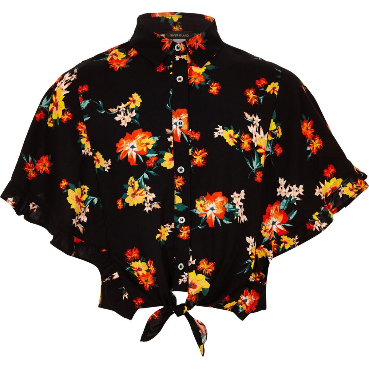 Girls black floral tie front shirt