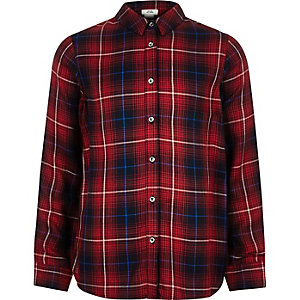 Boys red check button-up shirt