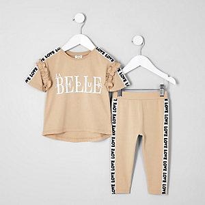 Mini - Bruine outfit met 'la belle'-print voor meisjes