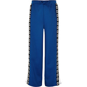 Girls blue RI popper side trousers