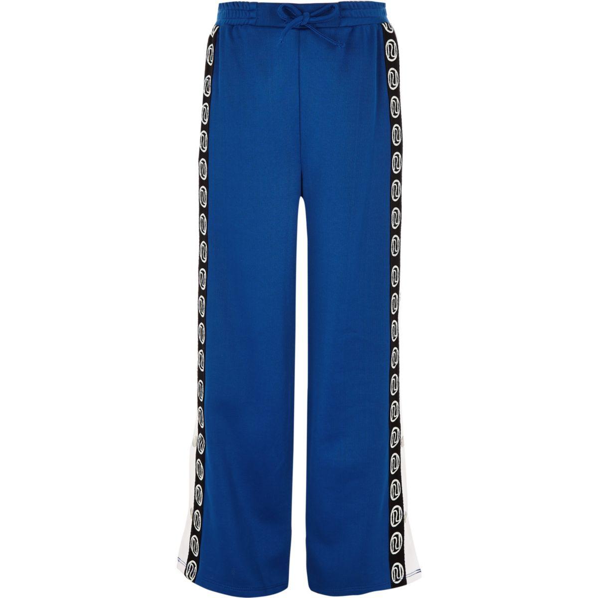 Girls blue RI popper side trousers