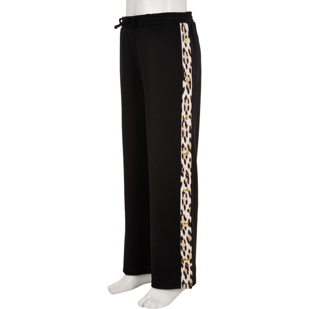 Girls leopard print popper side trousers