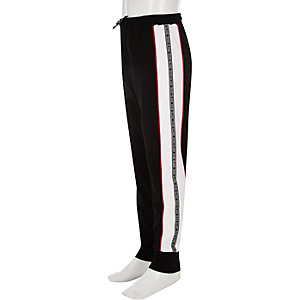 Girls black RI branded tape side joggers