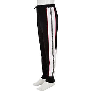 Pantalon de jogging noir avec bande latérale à logo RI fille