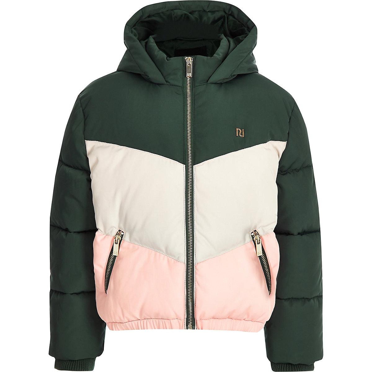 Girls green colour block hooded puffer coat