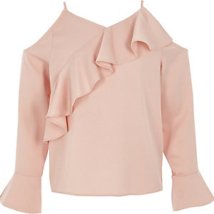 Girls pink cold shoulder frill top