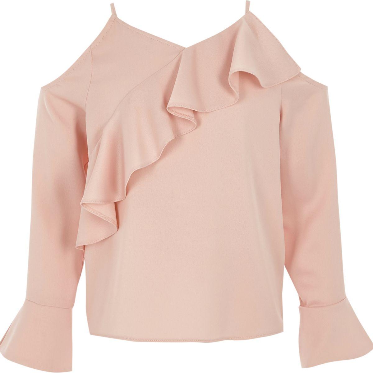 Girls pink cold shoulder frill top