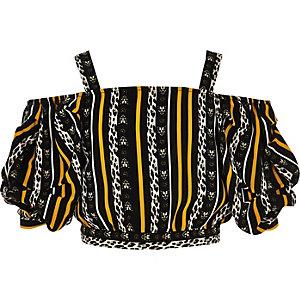 Zwarte schouderloze top met luipaardprint voor meisjes