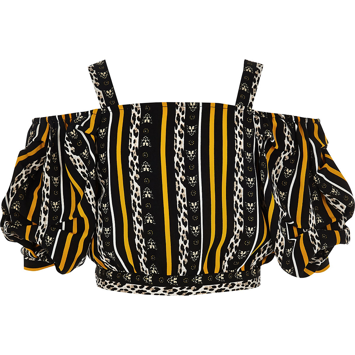 Girls black leopard print cold shoulder top