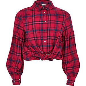 Rot kariertes Hemd mit Puffärmeln