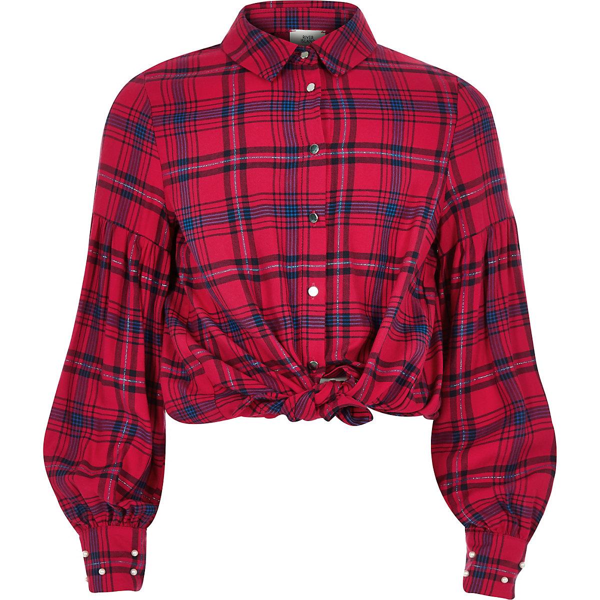 Girls red puff sleeve check shirt