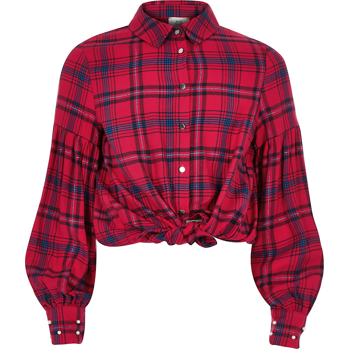 Girls red puff sleeve check shirt