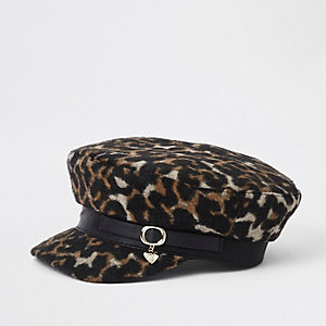 Girls brown leopard print baker boy hat