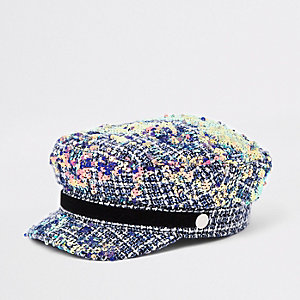 Girls grey boucle sequin captains hat