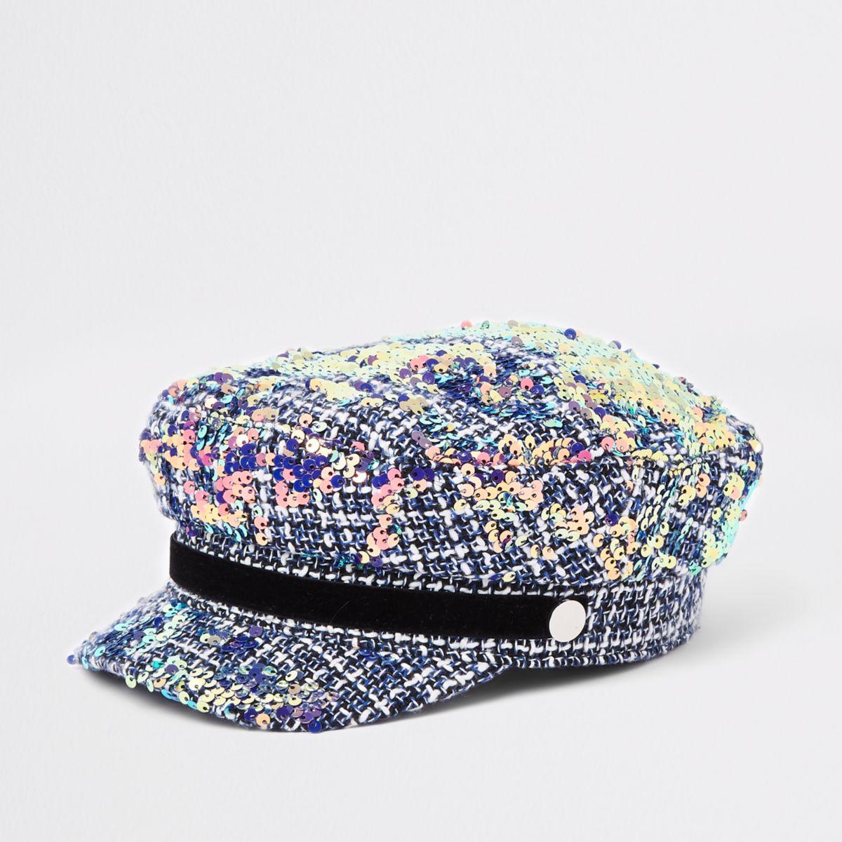 Girls grey boucle sequin captains hat
