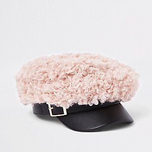 Girls light pink shearling top baker boy hat