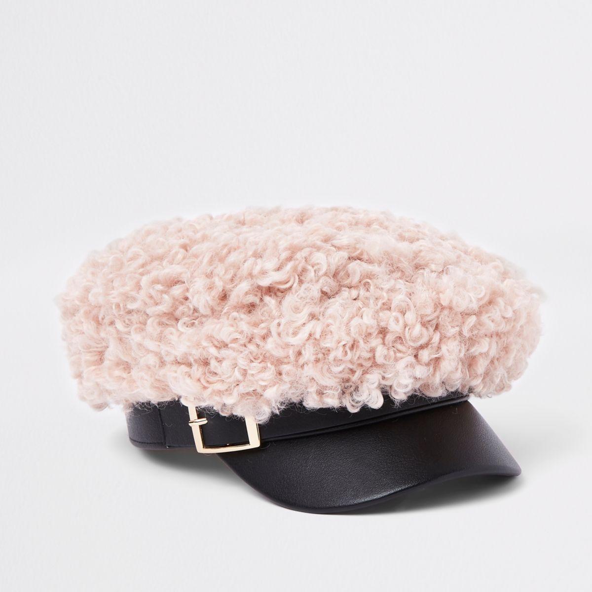 Girls light pink shearling top baker boy hat