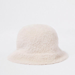 Girls pink fluffy bucket hat