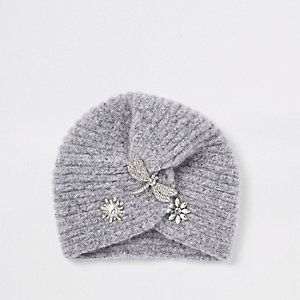 Girls grey embellished knit twist turban