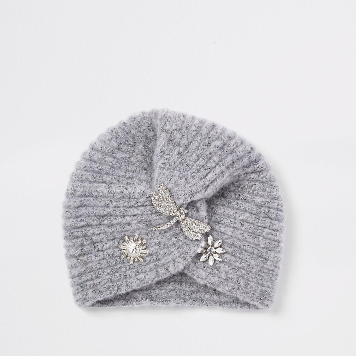 Girls grey embellished knit twist turban