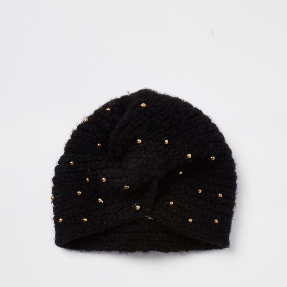 Girls black stud knit twist turban headband
