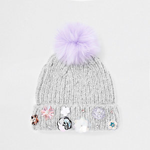 Girls grey sequin embellished beanie hat