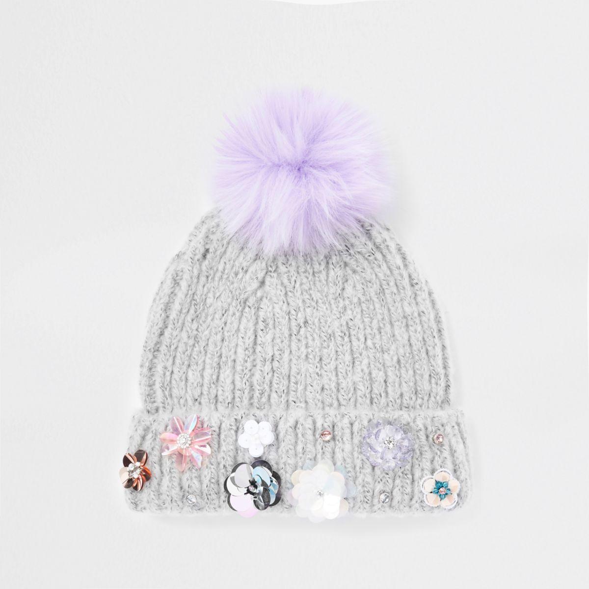 Girls grey sequin embellished beanie hat