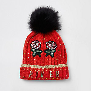 Girls red embroidered faux fur beanie hat