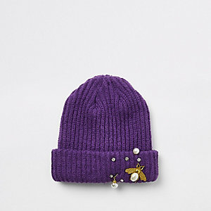 Girls purple pearl embellished bee beanie hat