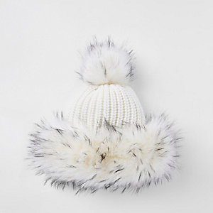 Girls cream black faux fur trim bobble hat