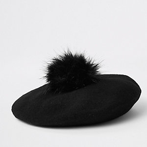 Girls black felt pom pom beret