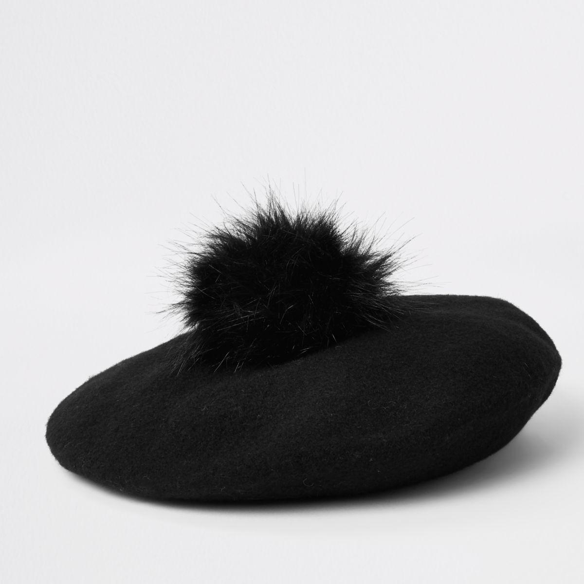 Girls black felt pom pom beret