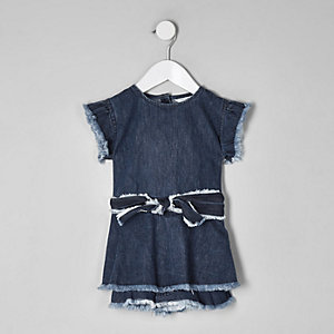 Combi-short en jean bleu mini fille