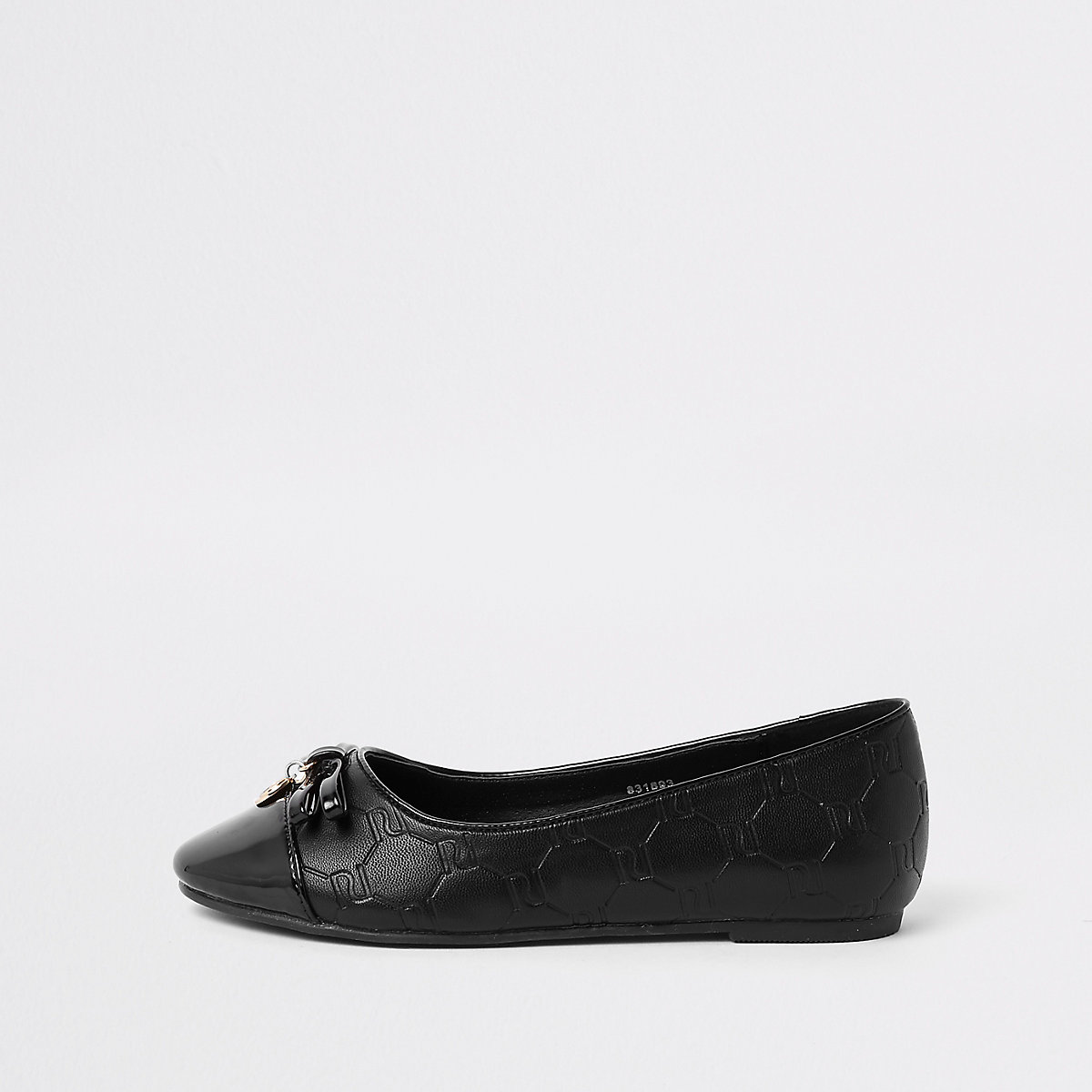 Girls black RI monogram pump shoes