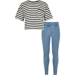 Girls grey stripe and denim leggings set
