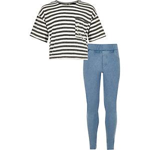 Girls grey stripe and denim leggings set