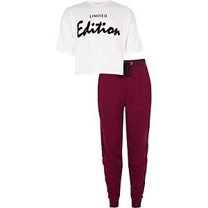Outfit met wit T-shirt met 'limited edition'-print voor meisjes