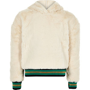 Girls cream 'VIP' faux fur tipped hoodie