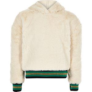 Crème hoodie met 'VIP'-print en randje van imitatiebont voor meisjes