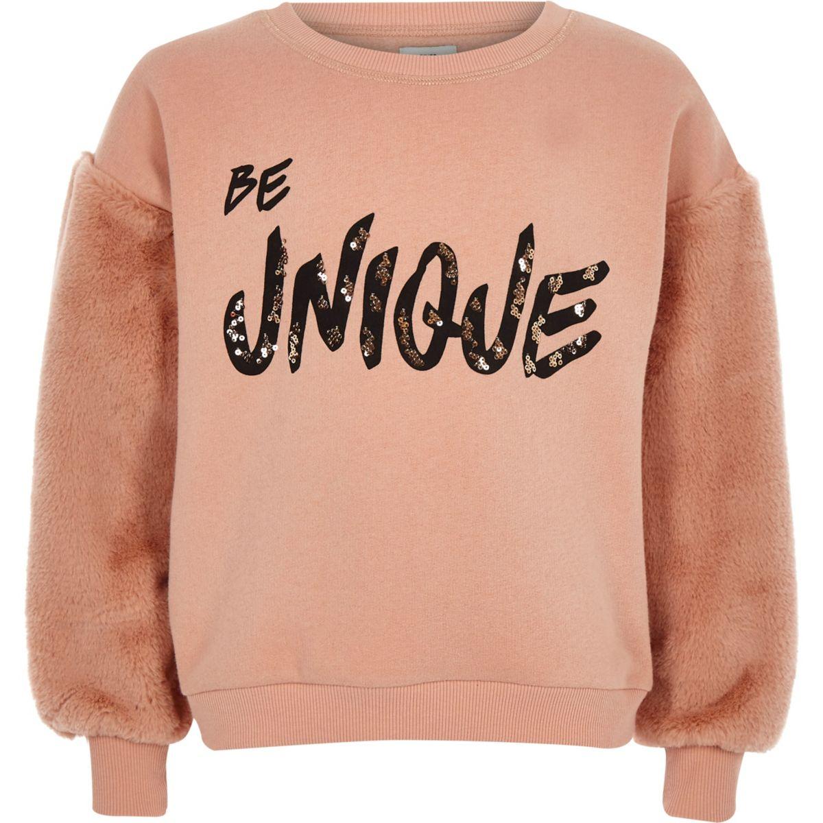 Girls light pink faux fur sleeve sweatshirt