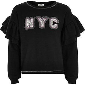 Zwart sweatshirt met 'NYC'-print en ruches aan de mouwen voor meisjes