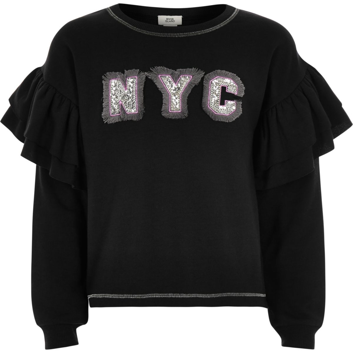 Girls black 'NYC' frill sleeve sweatshirt