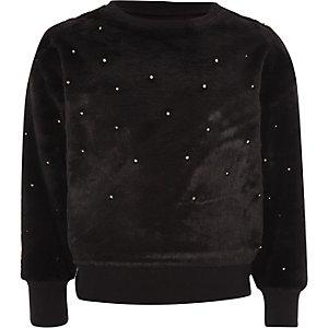 Zwarte pullover met imitatiebont en parels voor meisjes