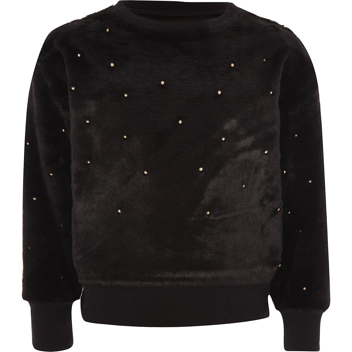 Girls black faux fur pearl embellished jumper