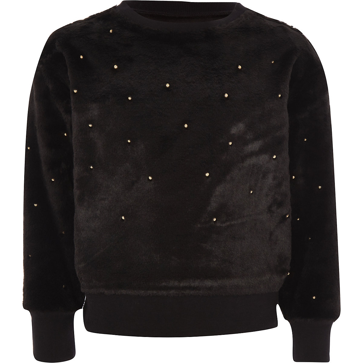 Girls black faux fur pearl embellished sweater